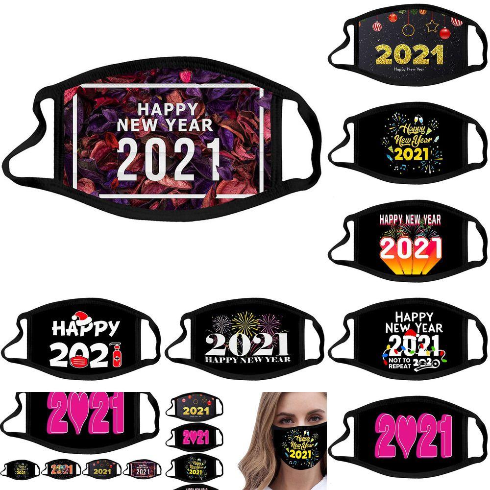 Yüz Mutlu Tasarımcı Yeni Maske Yıl 2021 Custom Made Maskeli Noel Süslemeleri Yetişkin Siyah Ağız Maskeleri Pamuk Facemask 4 NMEPC