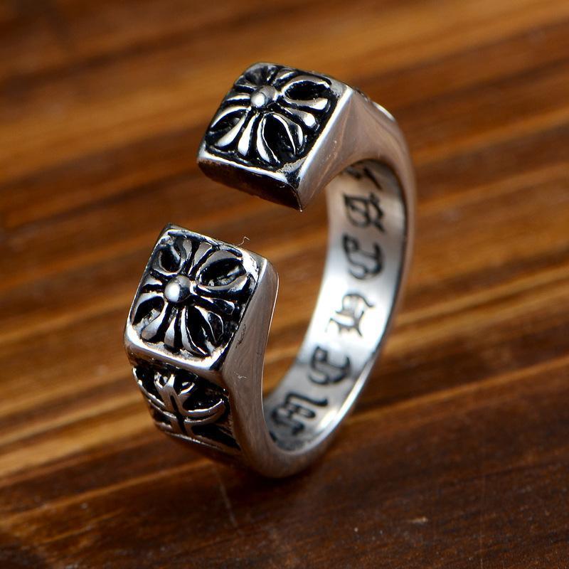 جميلة الفولاذ المقاوم للصدأ خواتم الفضة العلامة التجارية الصليب خمر رجل فاسق الدائري الصين بالجملة الفولاذ المقاوم للصدأ مجوهرات steampunk الرجال حلقات
