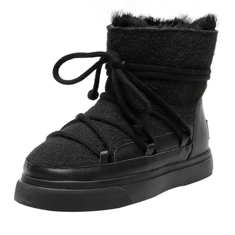 2021 Kar Yüksek Kalite Sıcak Yün Daha Boyutu 34-42 Moda Kış kadın Düz Pembe Kayısı Ayakkabı Siyah Ayak Bileği Çizmeler Uasi