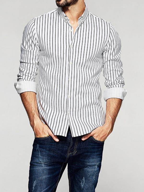 2019 5XL PLUS Размер полосатый повседневный рубашки мужчины с длинным рукавом классический бизнес мужская рубашка не железо социальные платья рубашки человека мульт
