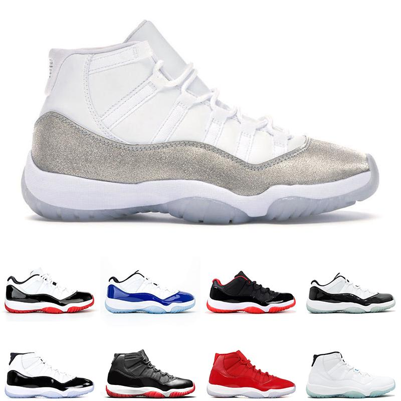25. Yıldönümü Jumpman Metalik Gümüş 11 Erkek Kadın Basketbol Ayakkabıları Bred 11s Concord Erkek Trainer Sneakers