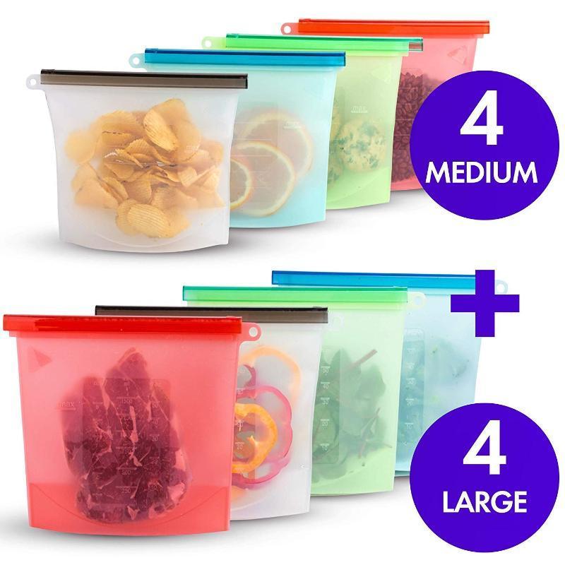 Сумки 1000ml 1500ml Силикон для хранения сумки многоразового использования силикона хранения для уплотнения морозильников Готовим Свежие сумки
