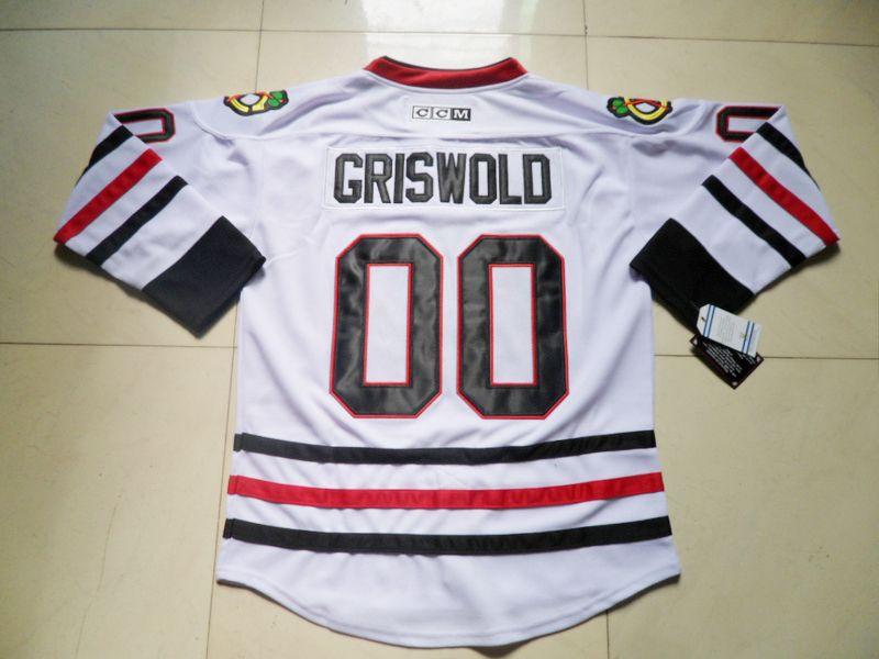 خمر شيكاغو blackhawks الهوكي الفانيلة # 00 كلارك griswold جيرسي الأبيض رخيصة كلارك griswold مخيط الجليد الهوكي الفانيلة حجم S-XXXL