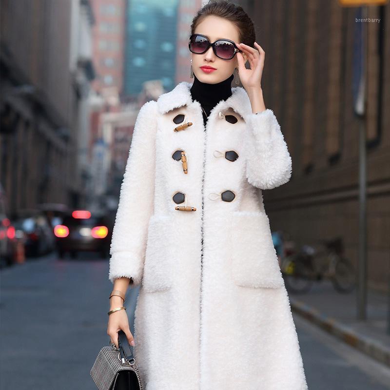 Women's Fur Faux Casaco Real 2021 Mulheres Inverno Carneiros Shearing 100% Jaqueta de Lã Roupas Coreanas Casacos Mulheres Manteau Femme 518084 KJ3471