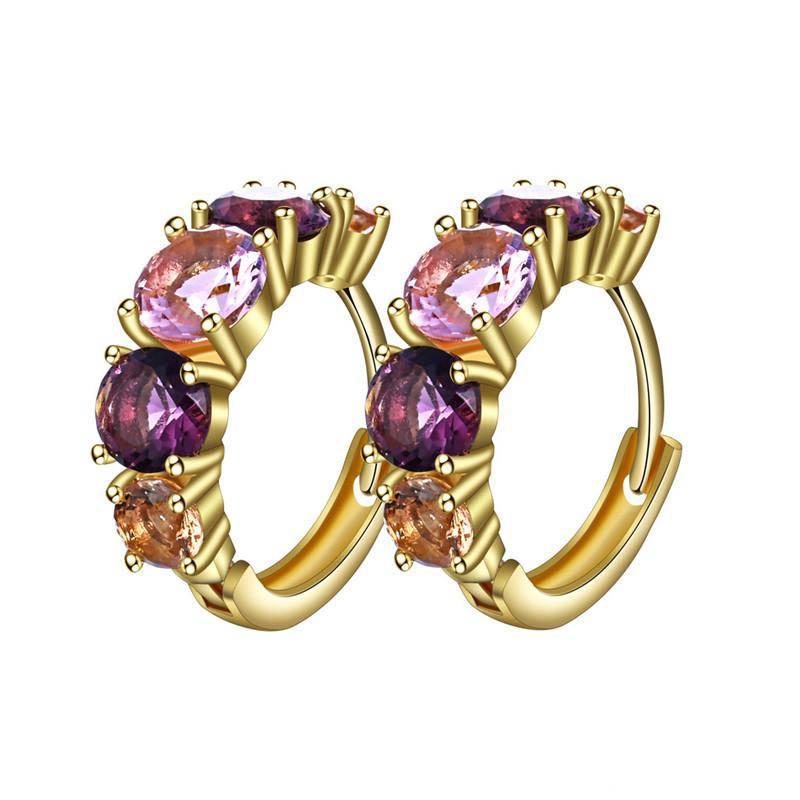 Pendiente del Rhinestone de la alta calidad de circón colorido del aro del metal del cobre plateado del círculo de oro redondo brillante de señora elegante Mujeres Diseño