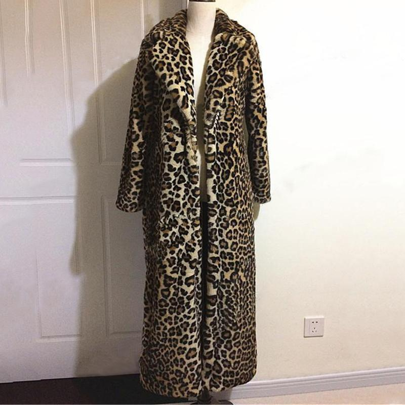 Женский меховой искусственный большой размер модный длинный до лодыжки тощий пальто куртки