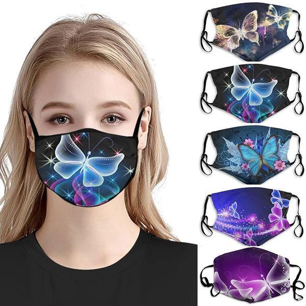 visage masque de nouveaux styles masque facial explosif hommes et les femmes adultes personnalité de la mode antipoussière tissu de coton respirant masque imprimé papillon