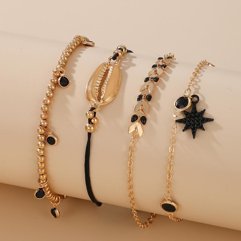 Huatang Boho Crystal Shell Shell Bracelet Braccialetto Set per le donne Multilayer Gold Bead Star Star Charms Bracciali da donna Polsino Pulsera