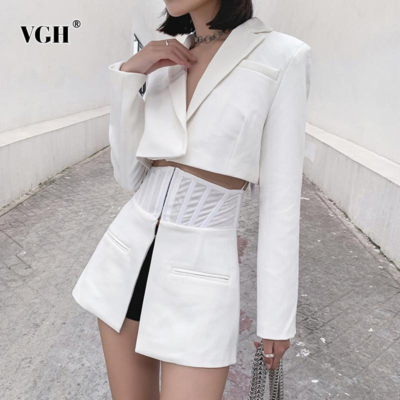 VGH Elegant Women Blazers Lapel Collar Long Sleeve Tunic Patchwork White Casual Split Suit For Female Fashion Clothing Tide 201009