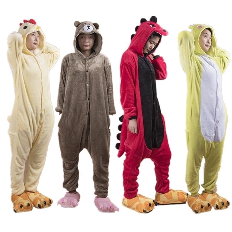 Nueva moda animal pijamas mujeres hombres pijama cosplay flannel onesie pollo rana dinosaurio oso otoño invierno adultos dormir ropa de dormir Y200425