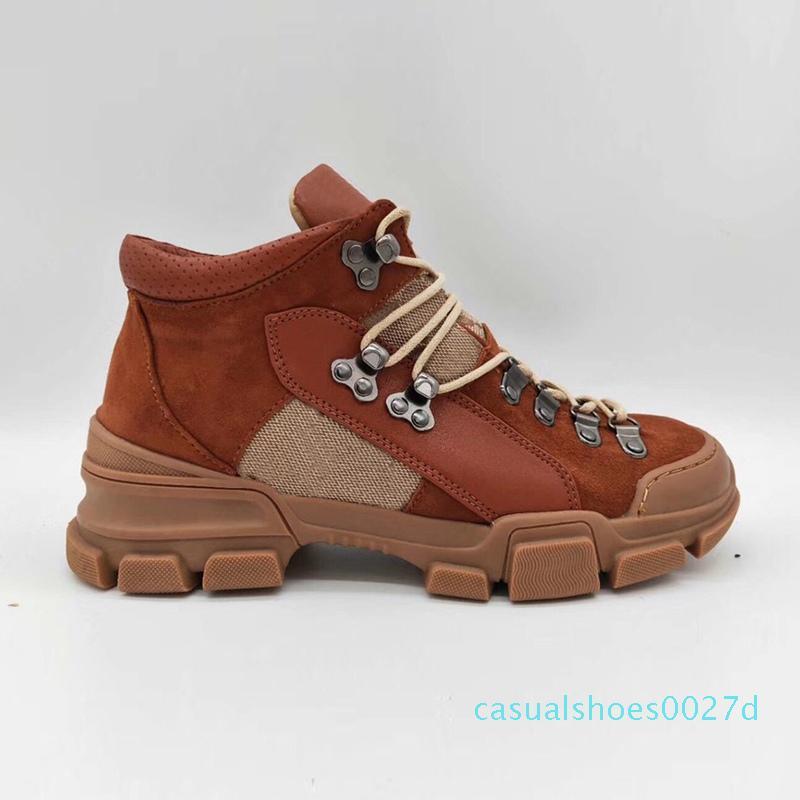 Kutu C27 ile FlashTrek Bilek Boots Erkek Sneakers Kış Çizme Beyaz / Kahverengi / Siyah Chunky Ayakkabı Martin Boots Moda Açık Ayakkabı