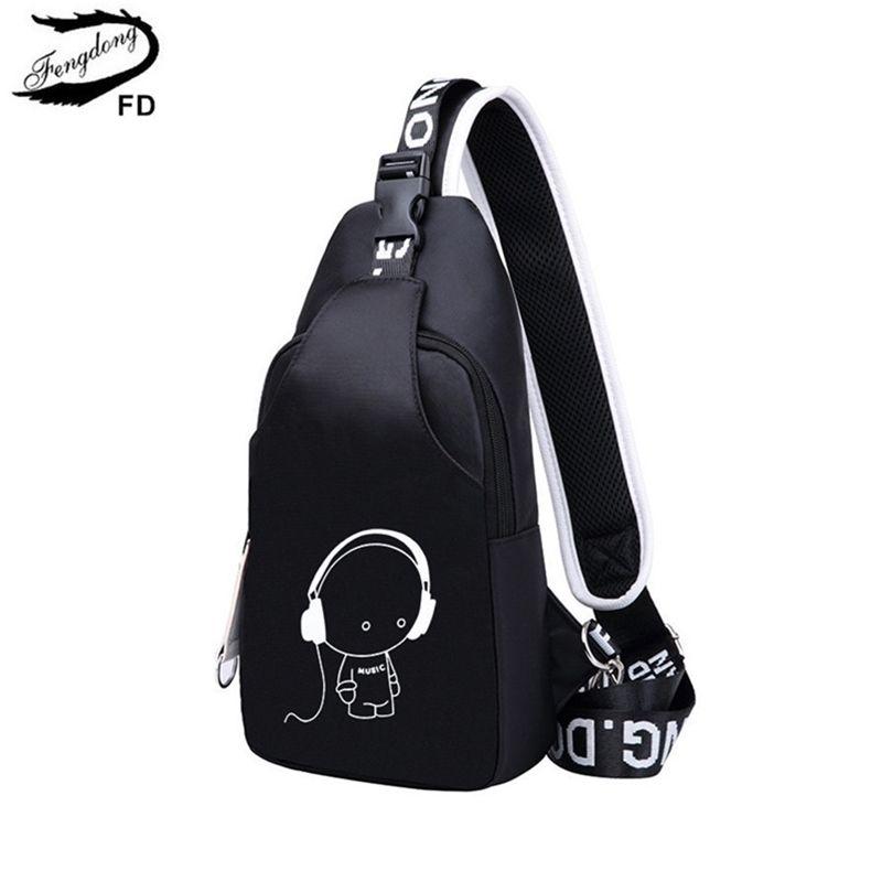 Fengdong petite crossbody pour femmes sacs de messagerie hommes casual sling poitrine mâle mini sac à bandoulière de voyage imperméable pack Y201224