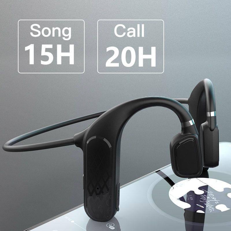 Conduzione ossea auricolare Bluetooth Wireless Headphones 360 gradi di flessione HIFI Audio Auricolari BLU 5,0 IPX5 impermeabile potere MD04 molto tempo