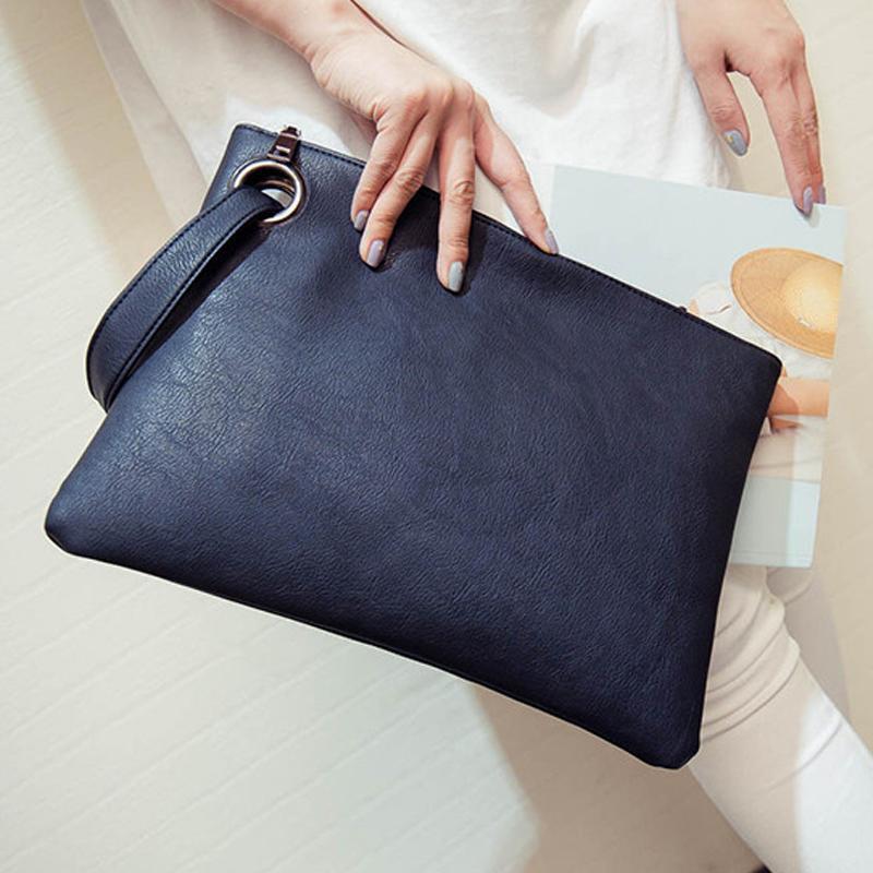 Mode Sac Femmes solides Pochette en cuir femmes enveloppe d'embrayage sac de soirée Femme Clutch Sac à main Immédiatement expédition