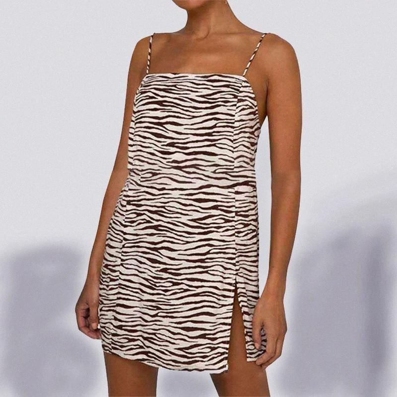 Women Fashion Hem Split Zebra Print Slim Sheath Dress Stylish Sleeveless Casual Sling Dress for Ladies Party Daily Wear #4O5X