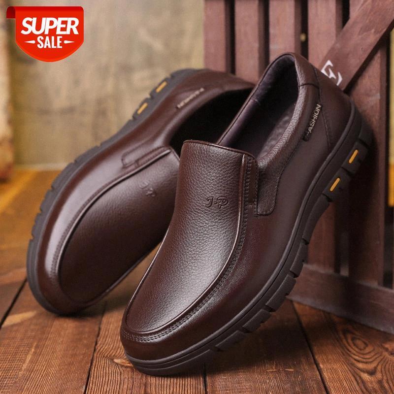 Nuevos zapatos de hombre de cuero de vaca suave de alta calidad hombre marrón vestido de negocios zapatos clásicos redondos mocasines zapatos hombre985 # uu5a