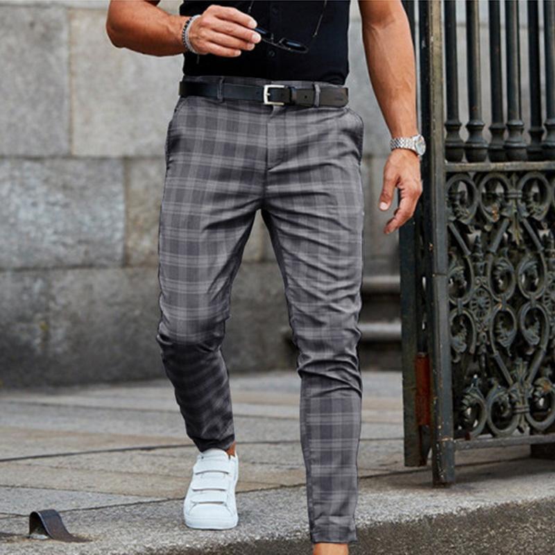 الرجال السراويل ربيع الخريف أزياء الرجال الذكية عارضة الملابس منقوشة قلم 2021 سراويل طويلة الذكور