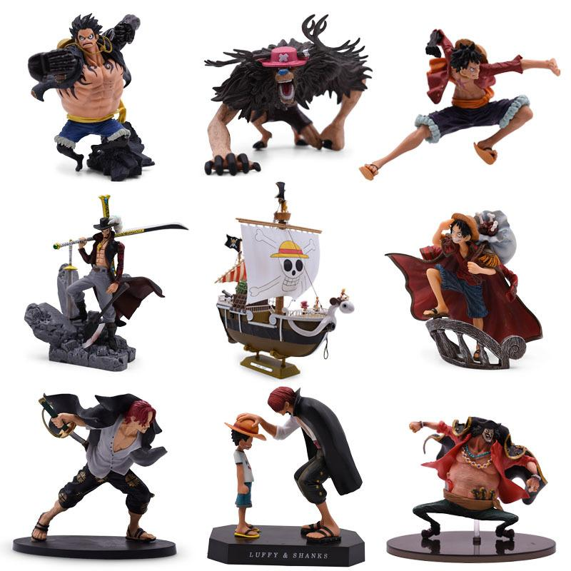 9 Stilleri Anime One Piece Luffy Chopper Dracule Mihawk Gidiyor Merry Shanks PVC Action Figure Tahsil Modeli Noel Hediyesi Oyuncak Q1217