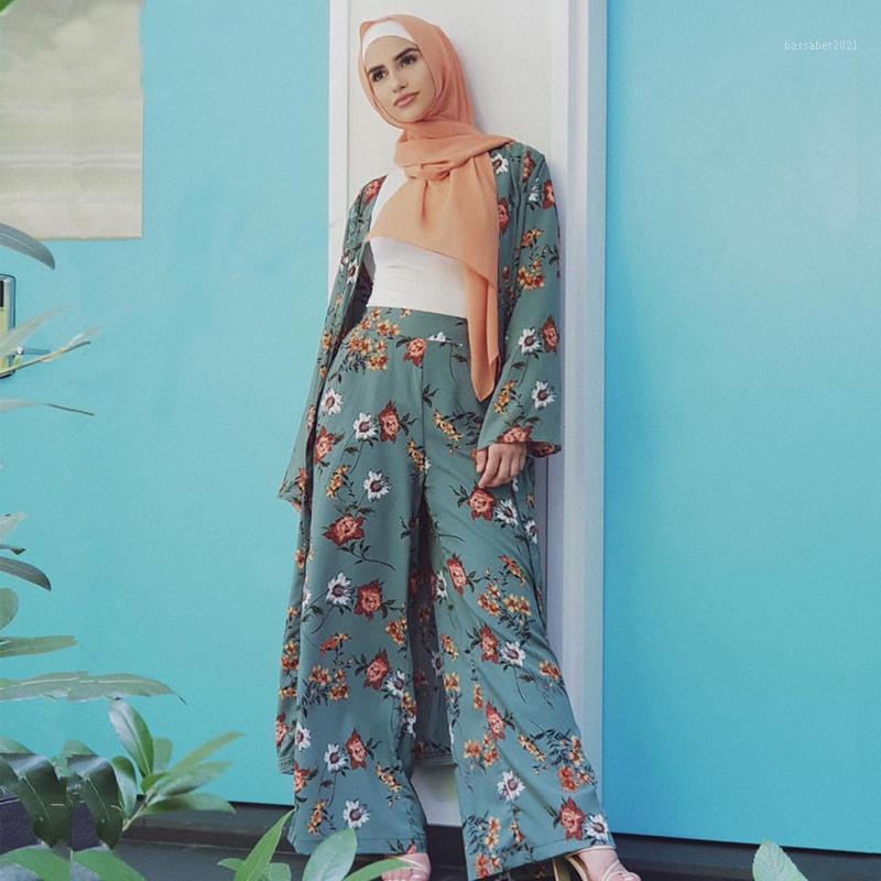 Ropa étnica Abaya Kimono Set Kaftan Robe Dubai Islam Muslim Hijab Vestido Caftán Marocain Ramadan Elbise Qatar Omán Turco Islámico Clothi
