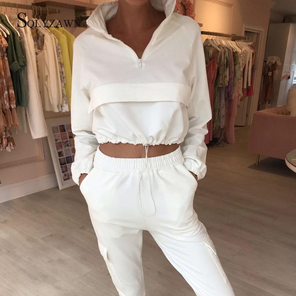 Suporte Colarinho Branco Superar o Outono Outono Mulheres Dois Conjunto de Tracksuit Woman Solid Solid 2 Piece Calças De Pants Conjuntos