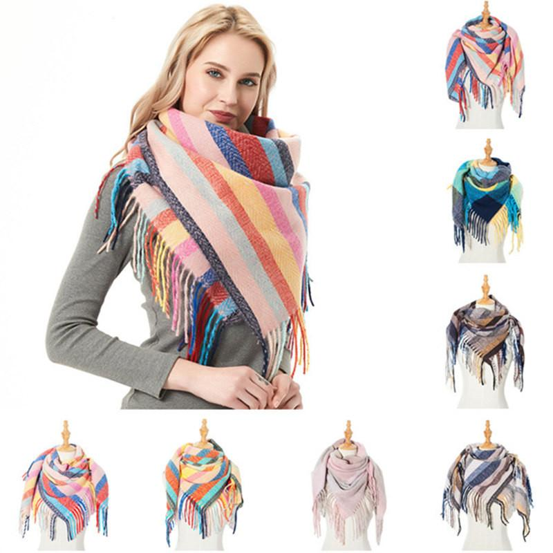 Trendy Women Plaid Scarves with Tassel Wrap Stripe Shawl Winter Squared Neckerchief Grid Scarf Female Warm Tippet Lattice Blanket Scarves IN
