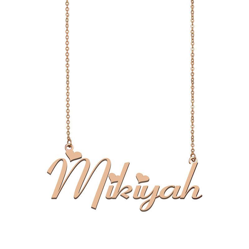 Mikiyah Name Halskette benutzerdefinierte Typenschild Anhänger für Frauen Mädchen Geburtstagsgeschenk Kinder Beste Freunde Schmuck 18 Karat vergoldetem Edelstahl
