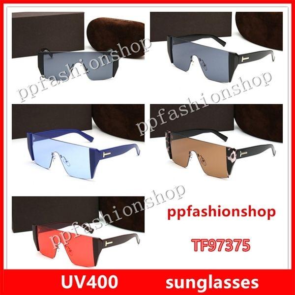 97375 Lunettes de soleil Men de luxe Marque Designer Fashion Cadre carré Protection UV Lentilles Lunettes de soleil Populaire La qualité supérieure viennent avec le cas