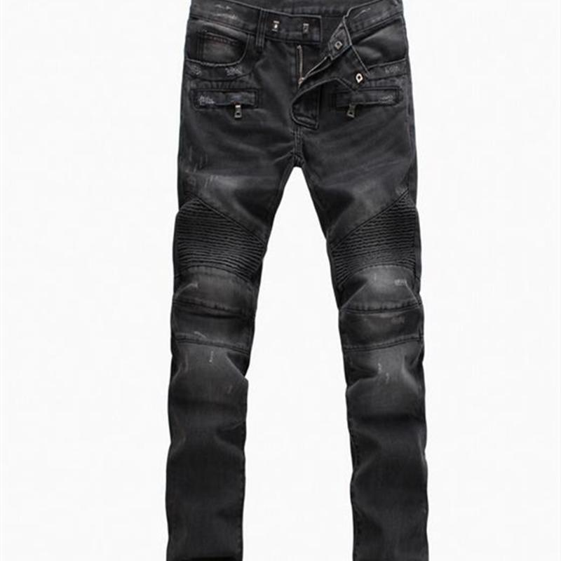 Pocket Slim Fashion Stretch Design Denim Pants Zipper High Youth Youth Pleated Hombres Biker Fit Street Algodón Jeans Vaqueros Pantalones Gabbd