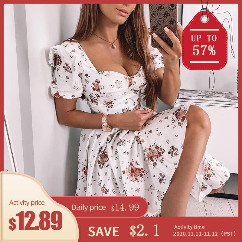 Southpire Bohe impresión de la flor blanca vestido de las mujeres 's manga corta Puff cremallera Vestido de tirantes mini vestido de verano elegante de las señoras ropa A1107