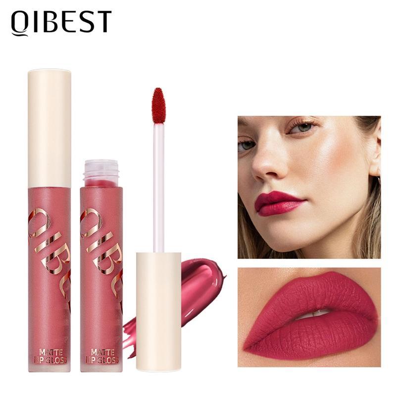 QIBEST Matte Lip Gloss Professional Makeup Lipgloss Velvet Waterproof Matte Liquid Lipstick Long lasting Matte Cosmetics 0182