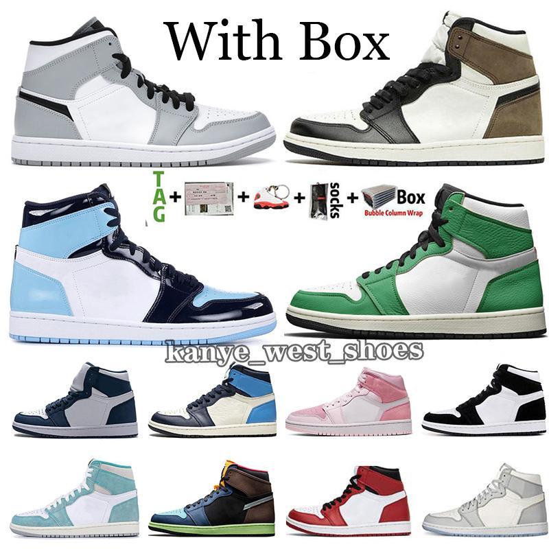 2021 Yeni Varış Jumpman 1 1 S Şanslı Yeşil Orta Işık Duman Gri Erkek Basketbol Ayakkabı Obsidiyen UNC Büküm Kara Mocha Kraliyet Toe Trainer Sneaker