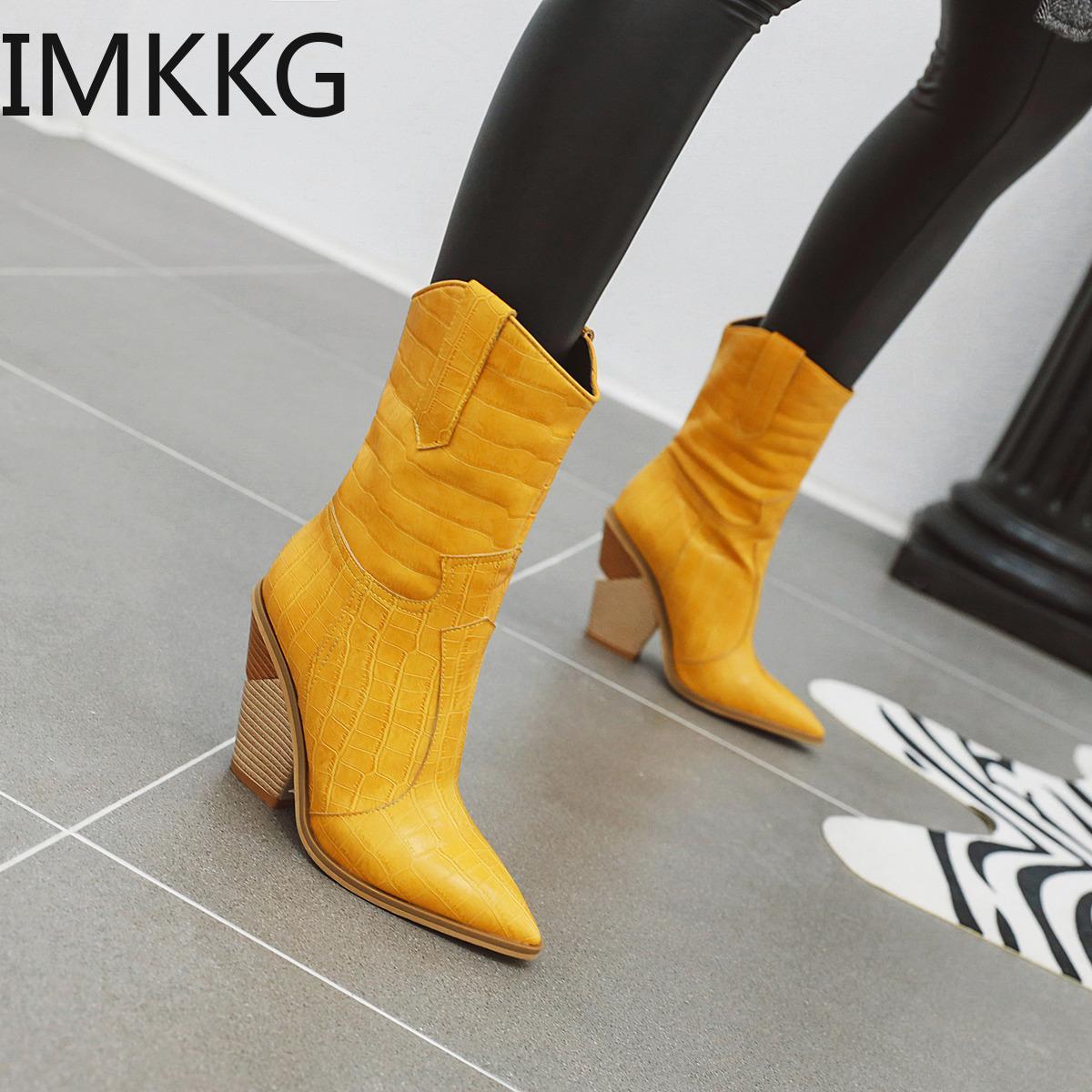 Nouveau bottes de cowboy occidentaux classiques pour femmes en cuir cowgirl bottes hautes talons chaussures mi-veau femme bottes 201127