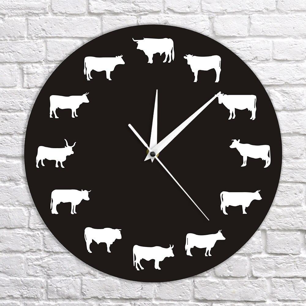 Hanging Agriturismo Farm Animals Camera decorazione della parete di Mucca Orologio da parete Bull Buffalo decorativo Orologio da parete Guarda
