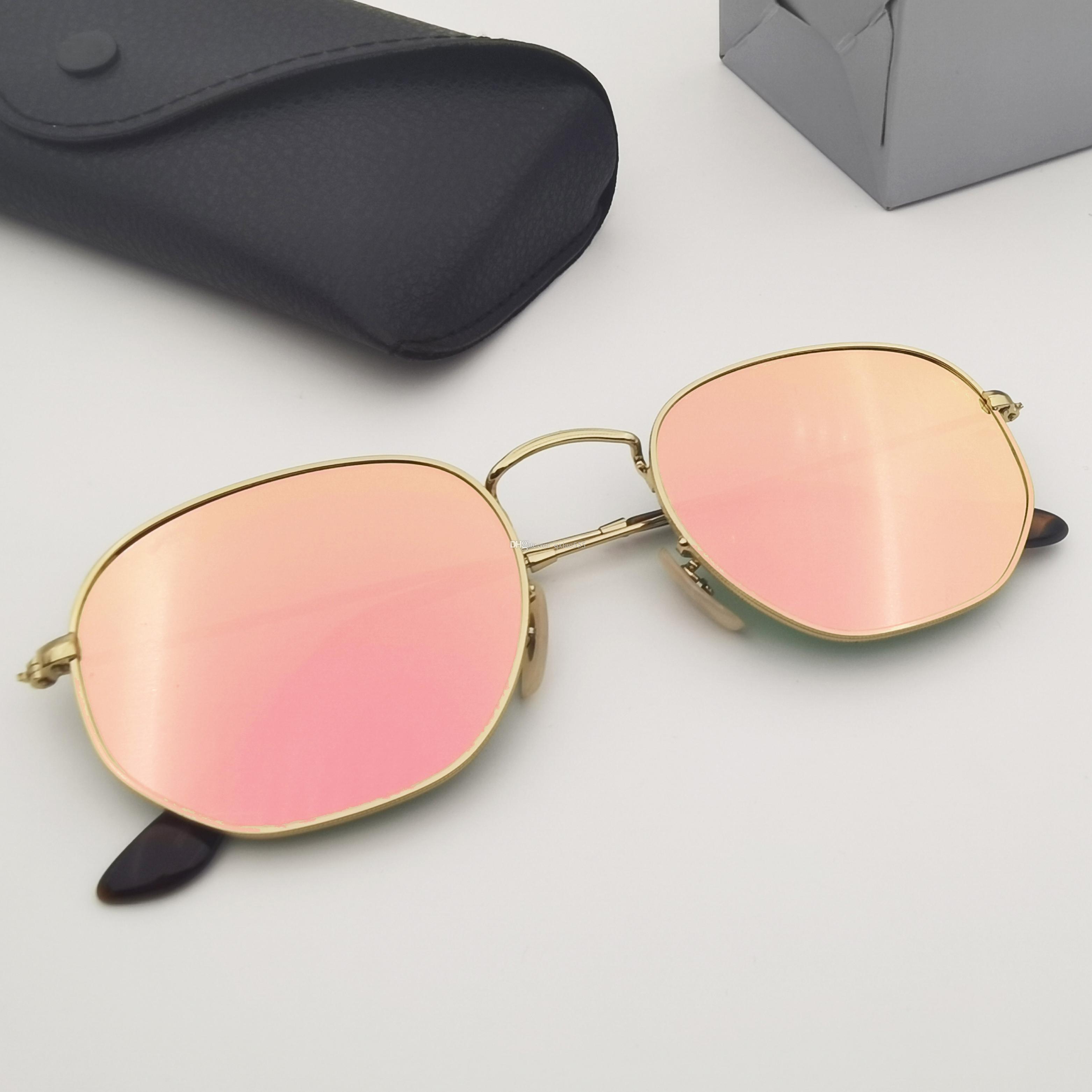 Üst Kadın Tasarımcı Marka Durumda Kadın Gerçek Cam Güneş Gözlüğü Altıgen Adam Güneş Gözlüğü Erkek Lensler Kalite G15 Ile Deri Metal Riowg