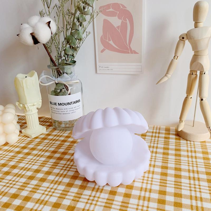 Concha pérola iluminator bebê noite luz decorativa lâmpada de cabeceira crianças luzes artista tabela bateria lâmpada levou lâmpada mãe