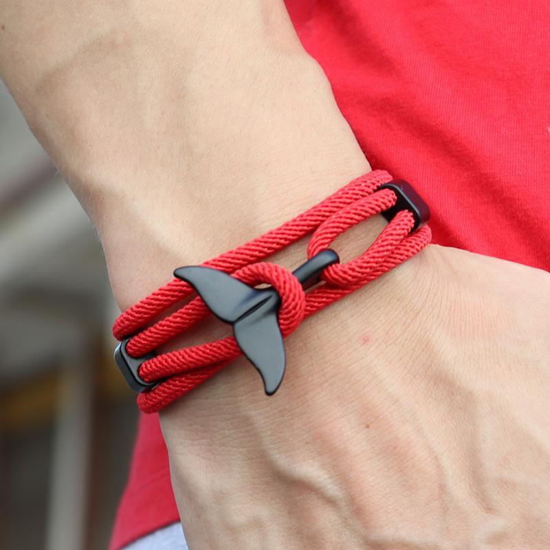Рука плетеный китовый хвост викинговый браслет подвески ручной работы красный веревка бразину для мужчин браслет строка регулировка ювелирных изделий Homme