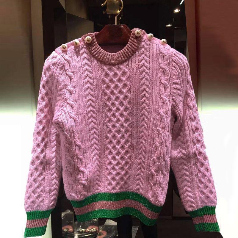 2021 New Pearls Pink Suéteres Jerseys de mujer Autumn Rayed Female Jumper Jumper Designer de lujo 9ASA