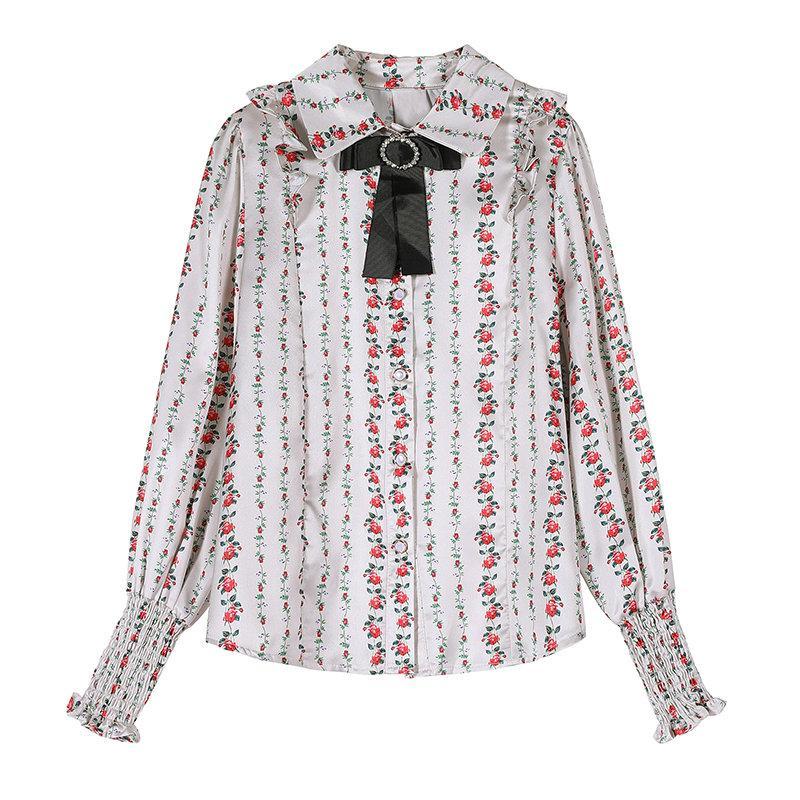 Fille Floral volants Chemise à manches longues Printemps Femme Blouse automne High End Fashion Tempéramment Shirt Quality Boad Shirt