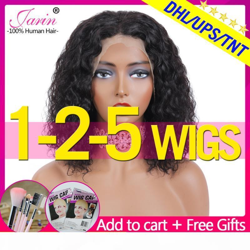 1-2-5 pcs Wig Water Wave Bob Wig 13x4 Lace Frontal Wigs Ear To Ear 150% Density lace Natural Wave Remy Human Hair Jarin