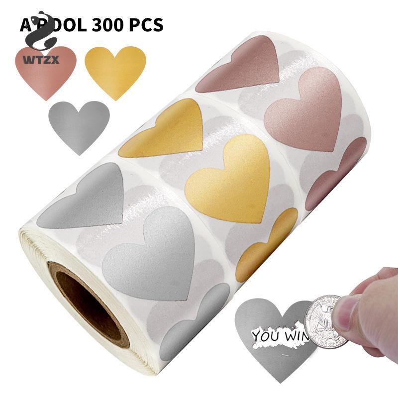 300pcs / roll rotonda Amore gratta Adesivi 1 pollice gratta etichette adesive per il partito di favori di attività di cancelleria Carte Sticker