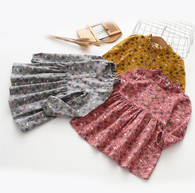 Verano niña vestido floral encaje medio alto collar manga larga botón volante vestido una pieza a-line gils vestidos