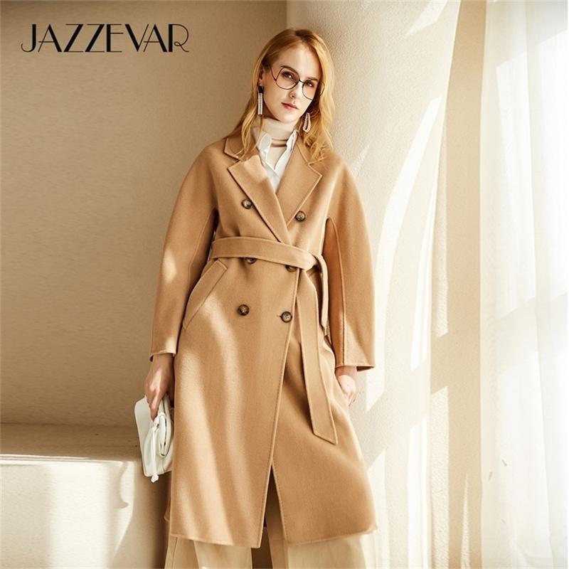 Jazzevar Atumn Kış Yeni Varış Kadınlar El-Dikmek Çift Göğüslü Ceket Yüksek Kalite Lady 2012 Için Çift Yüzlü Yün Giyim 201214