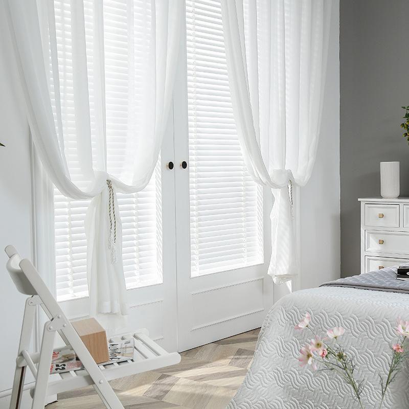 Moderna gasa de gasa blanca blanca cortinas de tul para la sala de estar de dormitorio panel de ventana transparente sheer cortina cortina bien
