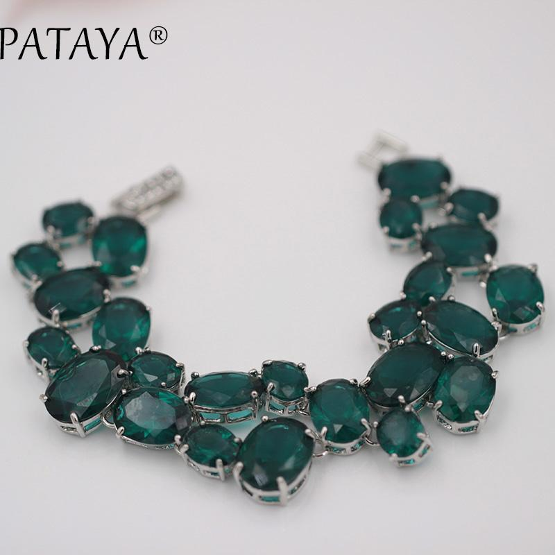 Pataya Neue Multicolor Oval Natürliche Künstliche Zirkon Armbänder Frauen Vintage Hochzeit Schmuck True White Gold Link Armband