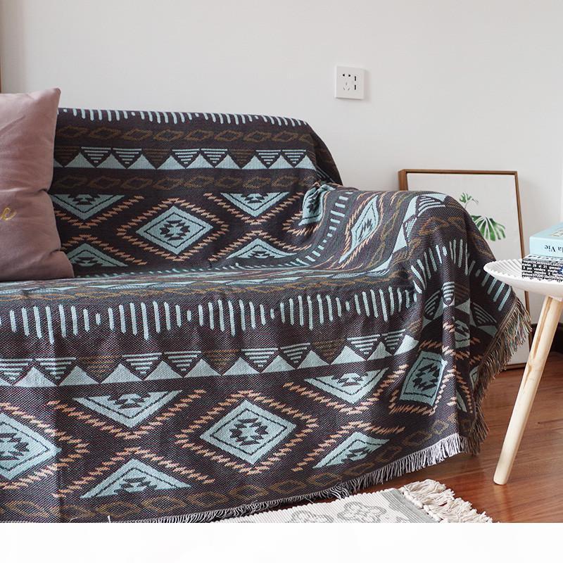 Двусторонняя геометрия бросает одеяло диван челкостр Детский младенческий рекордер диван плед женские шали новорожденных