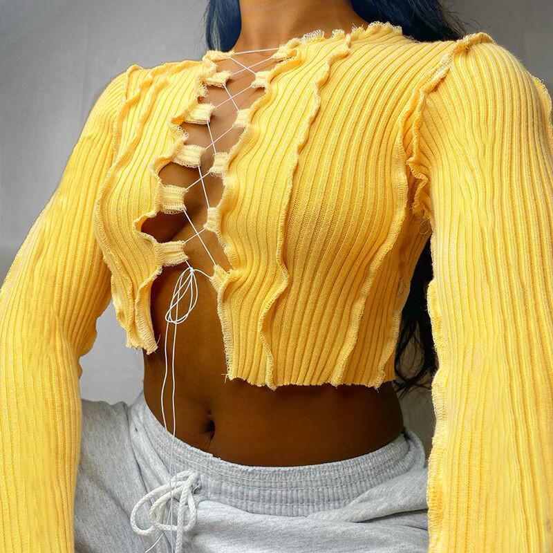 Сексуальные выдолбленные повязки Топы Женщины неоновый цвет ребристый вязальный футболка для футболки женская 2020 осенний клуб Party улица повседневная одежда
