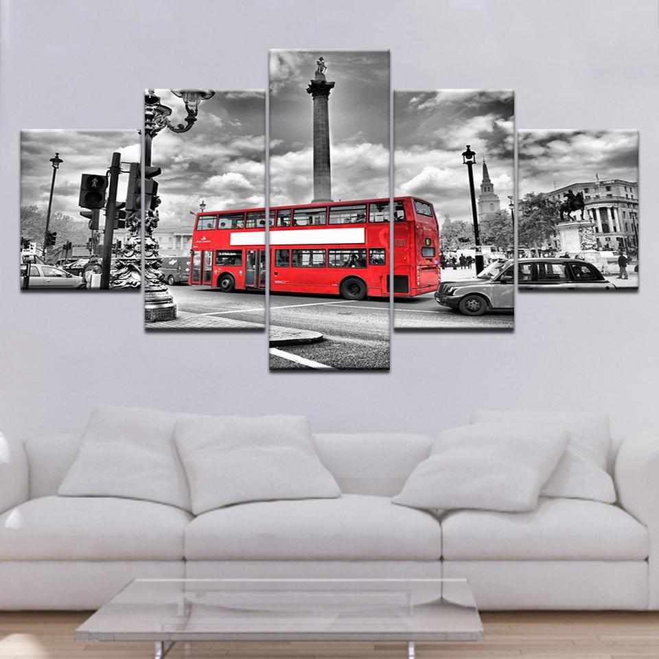 5 Imprimir Painel Wall Art Canvas London Bus Cidade Pintura de paisagem para sala Impressão Imagem Obra Modular