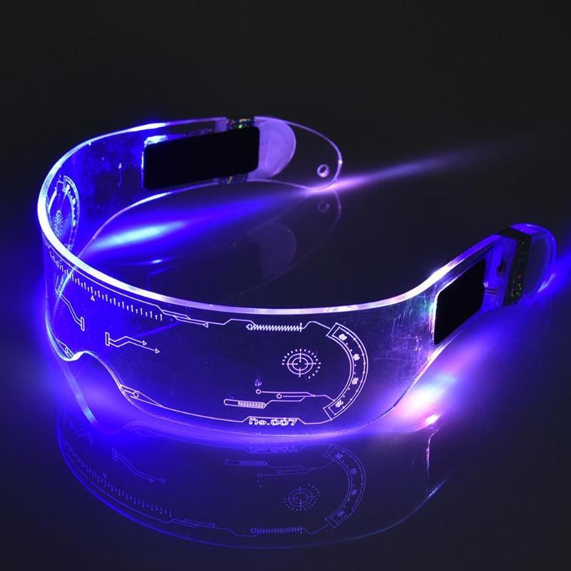 LED luminoso óculos futurista eletrônico Visor Óculos Light Up óculos Prop Para Halloween Festival Desempenho Top