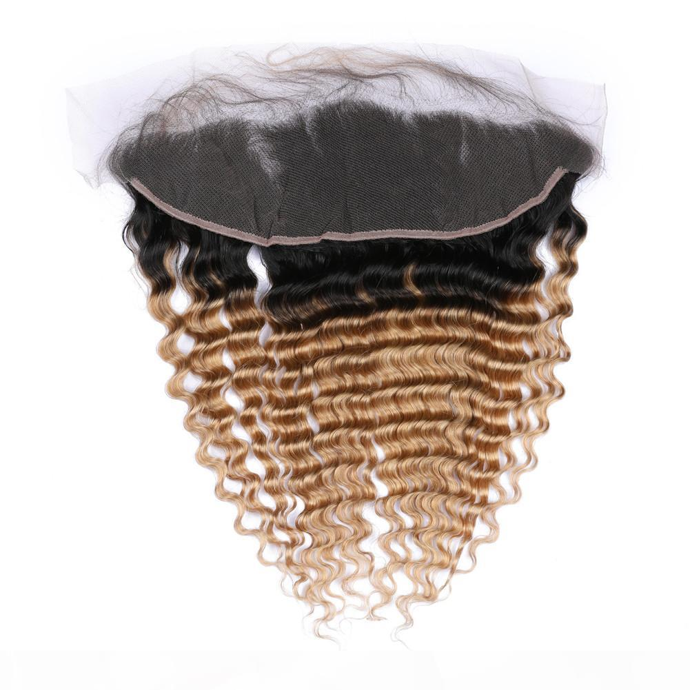 Ombre Bal Sarışın Derin Dalga Dantel Frontal Kapatma 13x4 Kulak Kulak Perulu İnsan Saç # 1B 27 Açık Kahverengi Ombre Tam Dantel Fronts