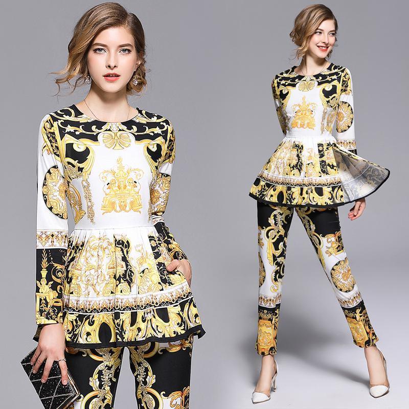 Два куска платье 2021 весенние летние падения взлетно-посадочной полосы 2 женщин наборы ретро старинные печатные экипаж шеи с длинным рукавом топ рубашка блузка брюки костюмы наряды